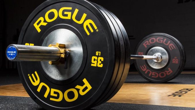 A Rogue Olympic weightlifting barbell - loaded with Rogue training bumper plates