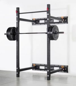 "Rogue RML-3W Power Rack - A Rogue original Fold Back Rack is built with two 3x3"" 11 gauge steel uprights, laser cut in Columbus, Ohio, with Westside hole spacing through the bench/pull area, and 2""-on-center spacing above and below. All steel is powder coated in the Rogue factory for a durable finish."