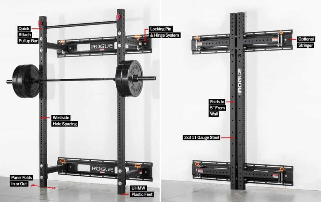 Rogue RML-3W Fold Back Wall Mount Power Rack - great space saving technology for your garage gym.