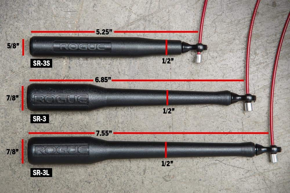 Not only is the Rogue SR-3 speed rope adjustable for length, there are 3 different handle options - Short, Long, or Regular.