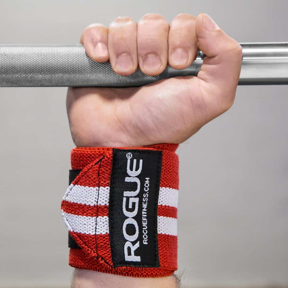 Rogue Wrist Wraps white series in red