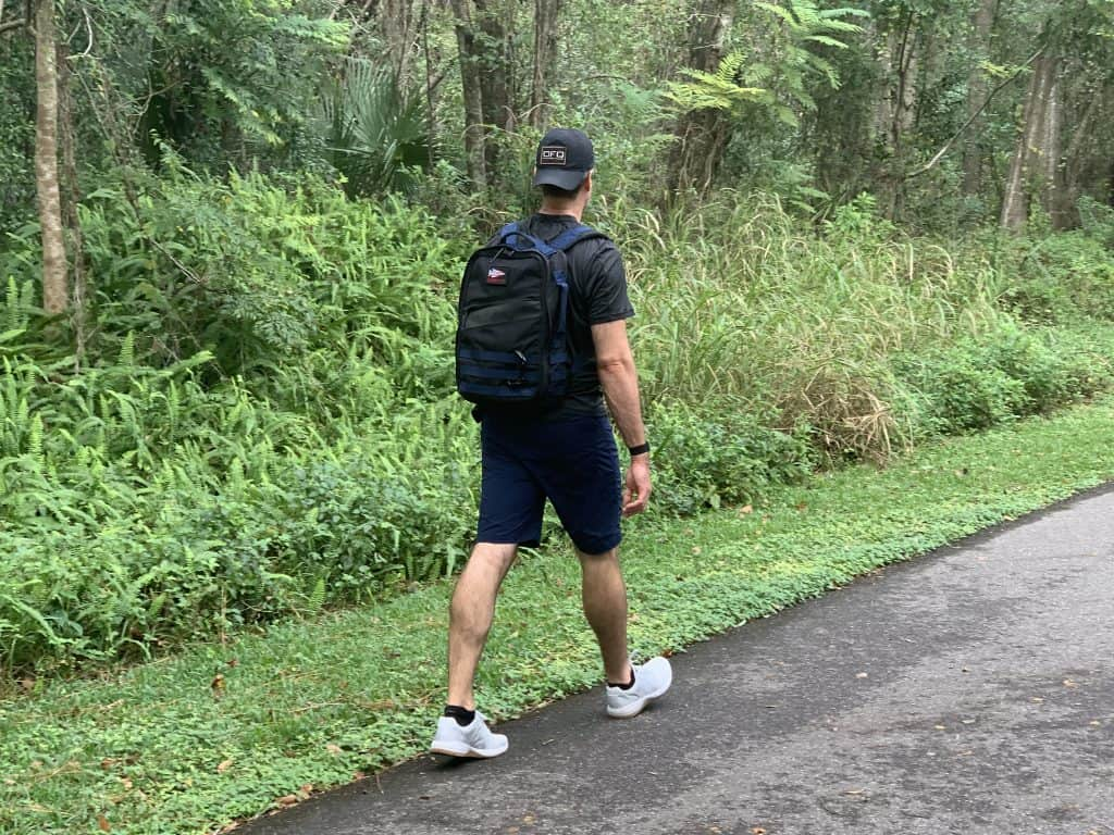 Rucking Calorie Burn - Rucking on a walking trail with Rucker 3 and Ballistic Trainer shoes - 1