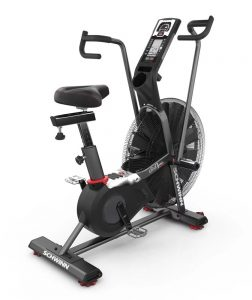 Schwinn has been manufacturing quality bikes for over a century, and in the fitness world, they've been a leading innovator in air resistance technology. With the Airdyne AD Pro, Schwinn has developed its most complete all-purpose stationary bike to date—with a perimeter-weighted flywheel design, powerful solid steel cranks, and doubled-coated steel body construction. Multi-position handles allow the rider to use a vertical or horizontal grip, redesigned foot platforms reduce slip and improve push-off, and a larger, padded seat offers optimal comfort. The universal rail and clamp system even lets users swap in their own customized seats if they choose.