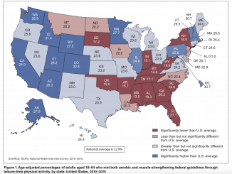 State variation in meeting the 2008 federal guidelines for both aerobic and muscle-strengthening activities through leisure-time physical activity among adults aged 18–64: United States 2010–2015