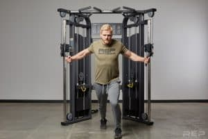 An athlete using the Victory Multi-Grip functional trainer