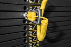 The selectorized weight stack on a functional trainer or cable machine - adjusting the weight is quick, precise, and easy.